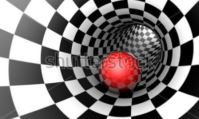 Carta da parati Predeterminazione. Sfera rossa in un tunnel di scacchi (immagine di concetto). Lo spazio e il tempo. Illustrazione 3D Disponibile in alta risoluzione e in diverse dimensioni per adattarsi alle esigenz