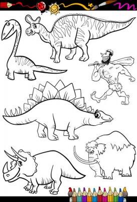 Carta da parati prehistoric set for coloring book