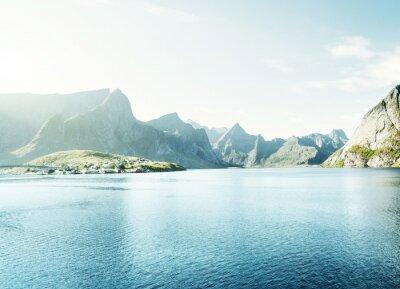 Carta da parati primavera tramonto - Reine, Isole Lofoten, Norvegia