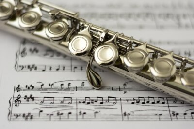 Carta da parati Primo piano flauto flauto foglio di musica di sfondo