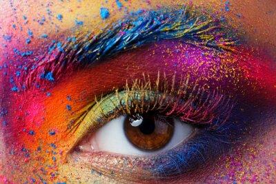 Carta da parati Primo piano vista di occhio femminile con brillante mak la moda multicolore