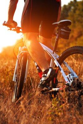 Carta da parati Primo piano vista posteriore di uomo spining pedali di una bicicletta