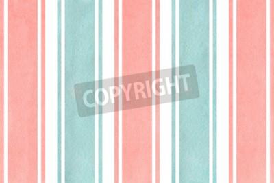 Carta da parati Priorità bassa a strisce rosa chiaro dell'acquerello e blu. Disegno geometrico dell'acquerello.