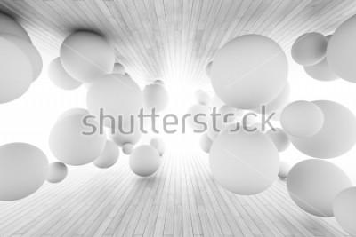 Carta da parati Priorità bassa geometrica astratta con le sfere in galleria dei bordi. Illustrazione 3D