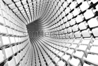 Carta da parati Priorità bassa geometrica astratta con un tunnel che va in prospettiva. Rendering 3D