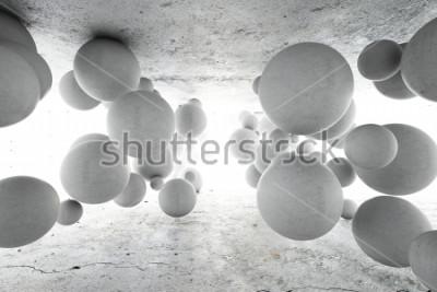 Carta da parati Priorità bassa geometrica astratta delle sfere concrete. Illustrazione 3D