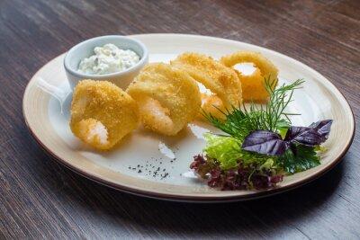 Carta da parati Profonde pastella fritti anelli di calamari calamari