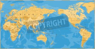 Carta da parati Programma di mondo politico dell'annata Pacifico centrato - vettore.