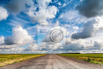 Carta da parati Prospettiva Strada vuota di campagna asfaltata con drammatica cielo poco nuvoloso