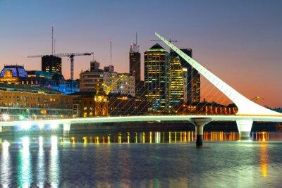 Carta da parati Puerto Madero di notte, il porto di Buenos Aires Argentina