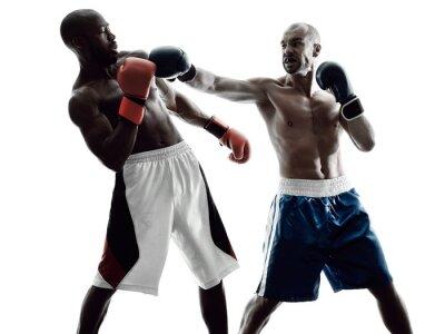 Carta da parati pugili degli uomini boxe isolato silhouette