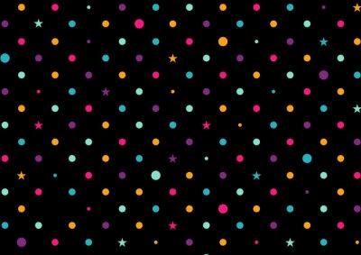 Carta da parati Puntini colorati illustrazione vettoriale Sfondo nero