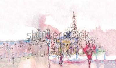 Carta da parati Punto di riferimento di Parigi con l'acquerello in un giorno di pioggia - vecchia vista museo con la Torre Eiffel dietro. Acquerello chic. Panorama parigino Panorama acquerello parigino. Paesaggio chi