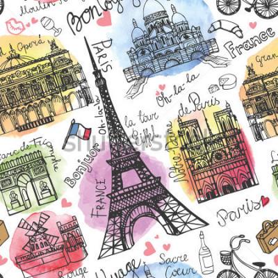 Carta da parati Punto di riferimento di Parigi, segnante il modello senza guarnizioni Steiner dell'acquerello Scarabocchio d'annata In buon viaggio francese, ciao, Notre Dame, torre Eiffel, Sacre Coeur, grande o
