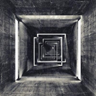Carta da parati Quadrato astratto scuro calcestruzzo interno tunnel, sfondo 3d