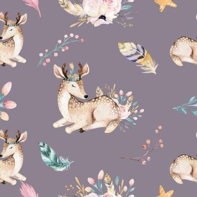 Carta da parati Raccon, cervi e coniglietti svegli della famiglia di bambino. giraffa del vivaio animale e illustrazione isolata dell'orso. Boho raccon dell'acquerello che disegna modello senza cuciture della scuola