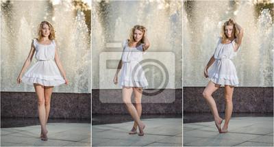 online store a58c1 bd01f Carta da parati: Ragazza attraente in bianco vestito corto seduta vicino ad  una