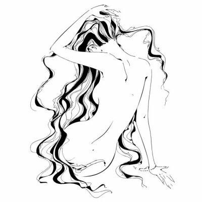 Carta da parati Ragazza nuda Grafica. Riccioli. Il nudo. Vettore