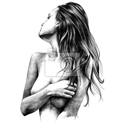 Carta da parati ragazza nuda pone schizzo grafica vettoriale in bianco e nero disegno bianco e nero