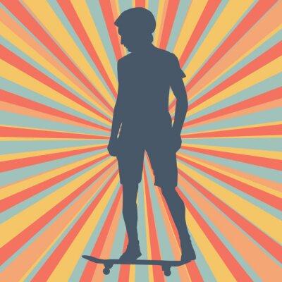 Carta da parati Ragazzo skateboarding sfondo vettoriale
