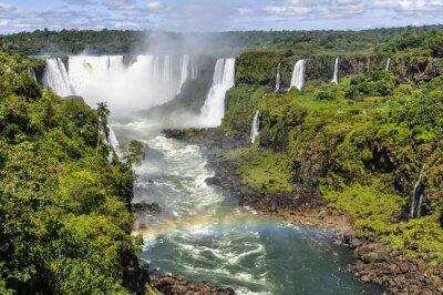 Carta da parati Rainbow at Gola del Diavolo a Iguazu Falls, Brasile