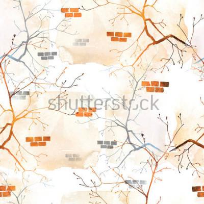 Carta da parati ramo di albero di primavera con giovani germogli contro il vecchio muro. motivo di sfondo senza soluzione di continuità. acquerello astratto e immagine disegnata a mano digitale. materiale il