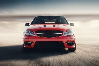 Carta da parati Red Car sport Fast velocità di traslazione su strada asfaltata
