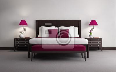 Red lusso chic camera da letto in legno rendering 3d, vista frontale ...