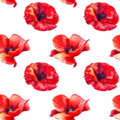 Carta da parati Red poppies on a white background. Floral seamless pattern with big bright flowers.Summer watercolour illustration for print textile,fabric,wrapping paper.