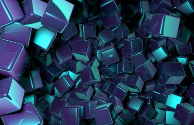 Carta da parati Rendering 3d cubi Casualmente distribuiti nello spazio, Dark Blue Cubes