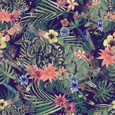 Carta da parati Reticolo dell'acquerello disegnato a mano senza giunte con boa, fiori, piume.