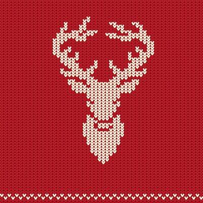 Carta da parati Reticolo lavorato a maglia con i cervi