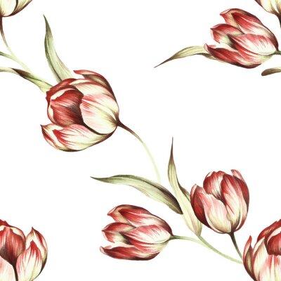 Carta da parati Reticolo senza giunte con i tulipani. Mano disegnare acquerello illustrazione