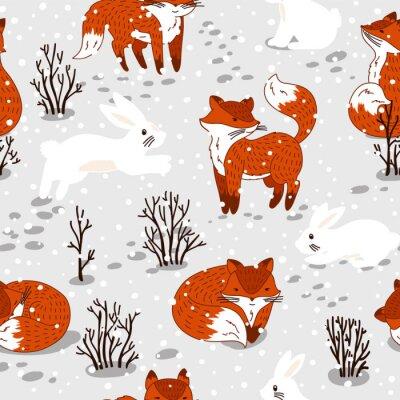 Carta da parati Reticolo senza giunte con le volpi carino e coniglio. illustrazione di inverno