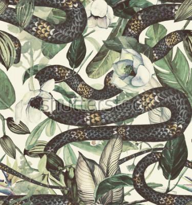 Carta da parati Reticolo senza giunte dell'acquerello con fiori tropicali, magnolia, fiori d'arancio, orchidea di vaniglia, foglie tropicali, foglie di banana
