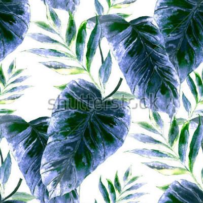 Carta da parati Reticolo senza giunte dell'acquerello con foglie tropicali: palme, monstera, frutto della passione. Bella stampa all-over con piante esotiche disegnate a mano. Costumi da bagno design botanico.