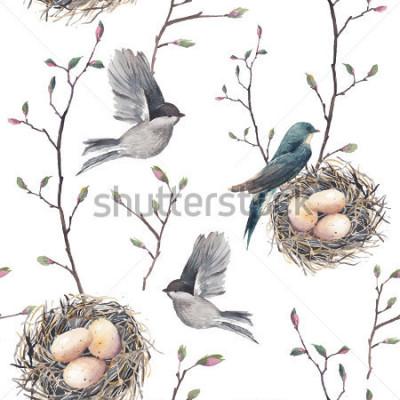 Carta da parati Reticolo senza giunte dell'acquerello con nido, uccelli e ramoscelli di albero. Vettore disegnato a mano primavera sfondo. Carta da parati vintage con rondine e uova