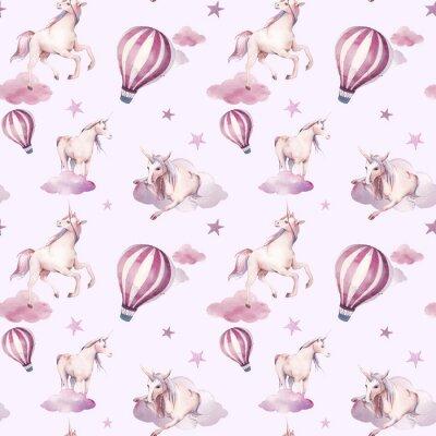 Carta da parati Reticolo senza giunte dell'acquerello con unicorno volante, nuvole, stelle. Disegno della carta da parati stile bambina. Fiaba disegnato a mano ripetendo sfondo