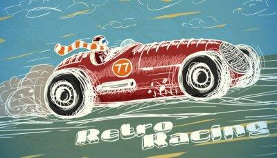 Carta da parati Retro auto da corsa Poster