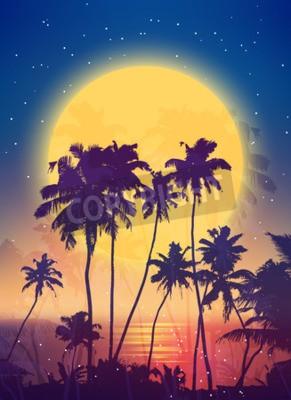 Carta da parati Retro stile sorgere della luna piena con sagome di palma vettore sfondo poster