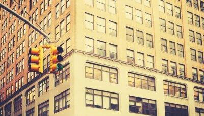 Carta da parati Retro stilizzata fotografia di semafori a New York, profondità di campo.