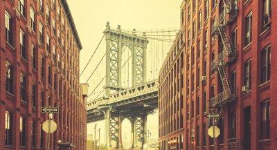 Carta da parati Retro stilizzato Manhattan Bridge visto da Dumbo, New York.