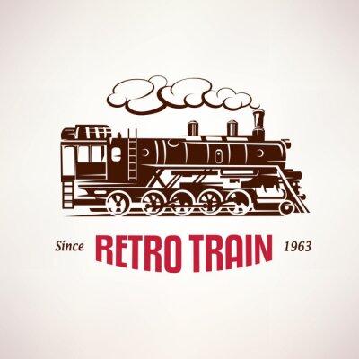 Carta da parati retro treno, simbolo vettore, emblema, modello di etichetta