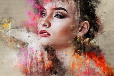 Carta da parati Ritratto astratto schizzato variopinto del fronte della ragazza di arte bello su fondo colorato nel modello di stile di modo di parola di stile di media misti dell'acquerello di Digital