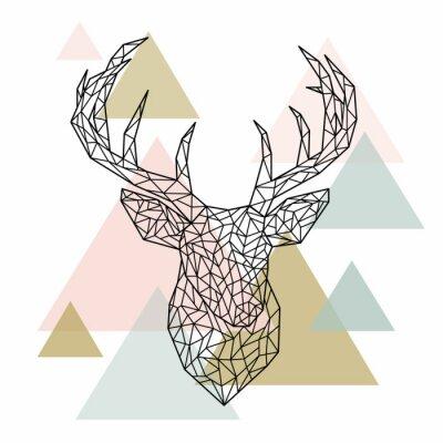Carta da parati Ritratto di cervo maschio poligonale. Stile scandinavo. Illustrazione vettoriale.