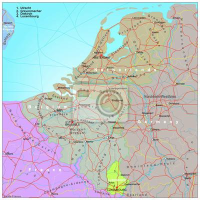 Cartina Fisica Belgio.Road E Cartina Amministrativa Del Belgio E Paesi Bassi Carta Da Parati Carte Da Parati Roadmap Lussemburgo Europa Myloview It