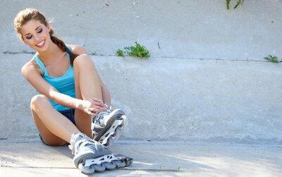 Carta da parati Roller ragazza di riposo sui gradini