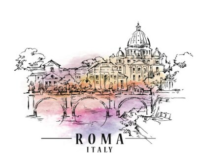 Carta da parati Roma sketch. Illustrazione del capitale italiano.