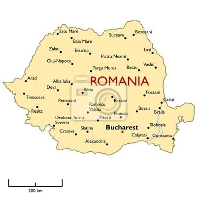 Cartina Dettagliata Romania.Romania Mappa Carta Da Parati Carte Da Parati Bucarest Repubblica Amministrativo Myloview It