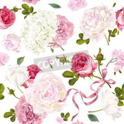 Carta da parati Romantic garden flowers pattern